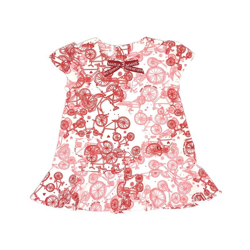 Vestido Infantil / Baby Em Alfaiataria Diagonal Com Lycra Estampado - Um Mais Um Vermelho