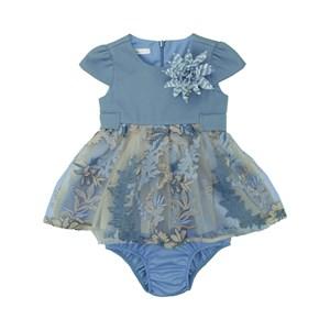 Vestido Infantil / Baby Em Crepe Chine Com Organza Engomada - Um Mais Um Azul Claro