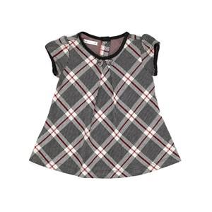 Vestido Infantil / Baby Em Jacquard Xadrez - Um Mais Um Preto