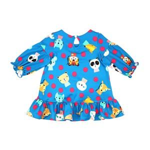 Vestido Infantil / Baby Em Malha Casinha De Abelha Estampado - Um Mais Um Azul