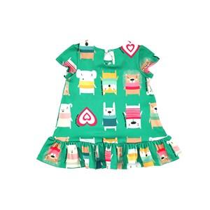 Vestido Infantil / Baby Em Malha Casinha De Abelha Estampado - Um Mais Um Verde