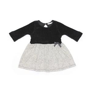 Vestido Infantil / Baby Em Malha Chenille Com Saia Em Viscolycra Com Poá - Um Mais Um Preto