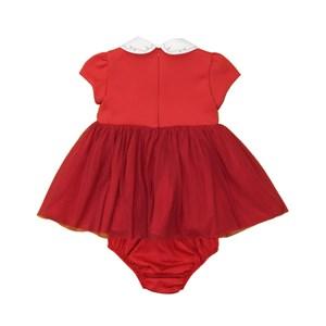 Vestido Infantil / Baby Em Neoprene Importado Com Malha Paetê - Um Mais Um Vermelho