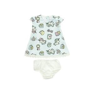 Vestido Infantil / Baby Em Neoprene Leve Com Helanquinha Para Forro - Um Mais Um Azul Claro