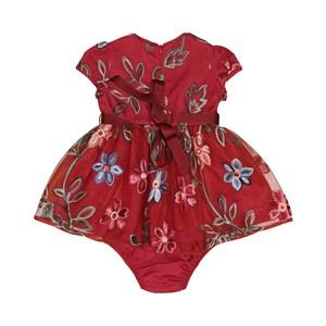 Vestido Infantil / Baby Em Organza Engomada Com Tule Bordado - Um Mais Um Vermelho