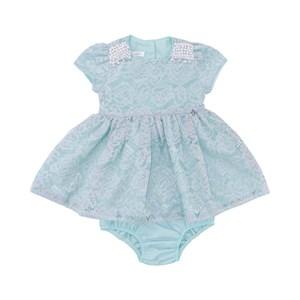 Vestido Infantil / Baby Em Organza Engomada E Renda Com Corneli - Um Mais Um Verde Agua