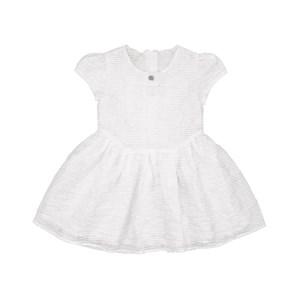 Vestido Infantil / Baby Em Organza Engomada - Um Mais Um Branco