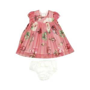 Vestido Infantil / Baby Em Organza Lisa Com Entretela - Um Mais Um Vermelho