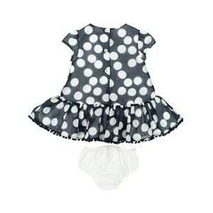 Vestido Infantil / Baby Em Voial Com Galao Pom Pom - Um Mais Um Marinho