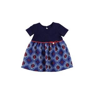 - Vestido Infantil / Baby Manga Curta Em Crepe Pesado E Moletinho Com Lycra - 1+1 Marinho