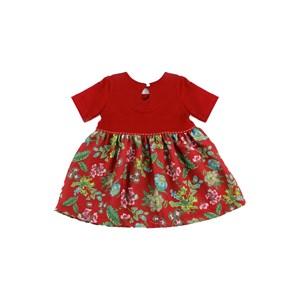 - Vestido Infantil / Baby Manga Curta Em Crepe Pesado E Moletinho Com Lycra - 1+1 Vermelho