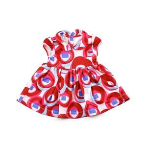 Vestido Infantil / Baby Manga Curta Em Neoprene Creponado - 1+1 Vermelho