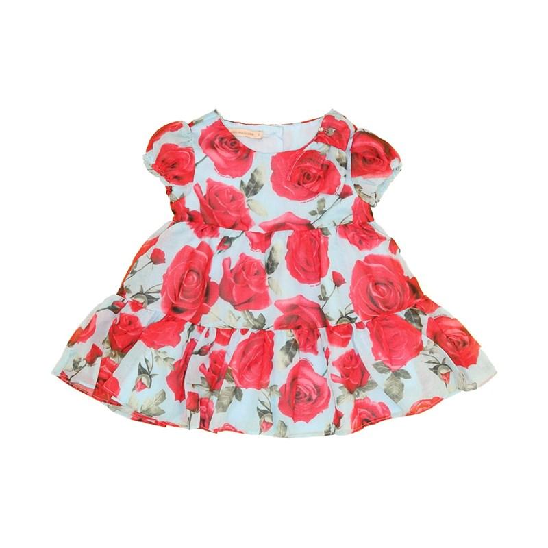 Vestido Infantil / Baby Manga Curta Em Voial Florido - 1+1 Azul Claro