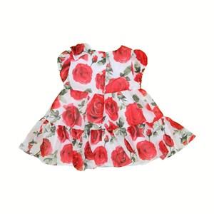 Vestido Infantil / Baby Manga Curta Em Voial Florido - 1+1 Cru