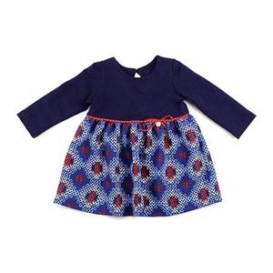 Vestido Infantil / Baby Manga Longa Em Crepe Pesado E Moletinho Com Lycra - 1+1 Marinho
