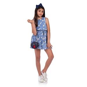 Vestido Infantil Blusê Com Saia Evasê Azul Claro