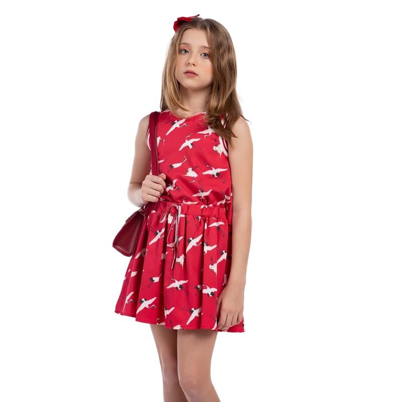 Vestido Infantil Blusê Com Saia Evasê Vermelho
