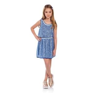 Vestido Infantil Blusê Com Saia Franzida Em Paetê Azul