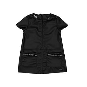 Vestido infantil com bolsos frontais e detalhe em cordao Preto