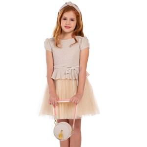 Vestido Infantil Com Manga Cabeça Saia Plissada E Cinto Rolitê Bege Claro