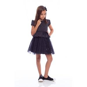 Vestido Infantil Com Manga Cabeça Saia Plissada E Cinto Rolitê Preto