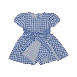 Vestido infantil com mangas bufantes estampa pied poule e laço frontal Azul Claro