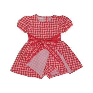Vestido infantil com mangas bufantes estampa pied poule e laço frontal Vermelho