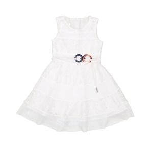 Vestido Infantil Com Saia Godê Cru