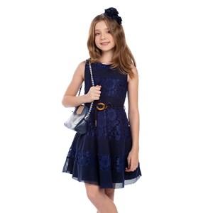 Vestido Infantil Com Saia Godê Marinho