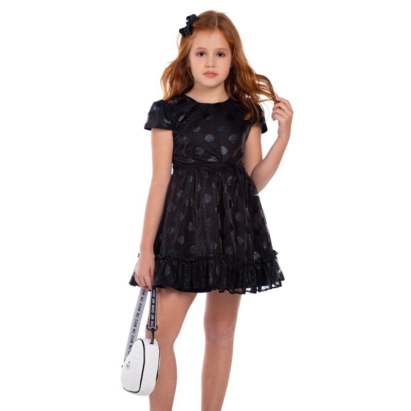 Vestido Infantil De Tule Com Manga Copinho Saia Evasê Com Babado E Cinto Rolitê Preto