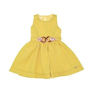 Vestido Infantil Decote E Cava Nas Costas Com Cindo De Cordão Amarelo Canario