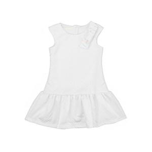 Vestido infantil em jacquard treliça branco com laço frontal - um mais um BRANCO