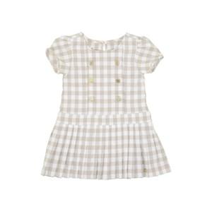 Vestido Infantil Em Xadrez Vichy Com Magas Bufantes E Saia Plissada Bege Claro