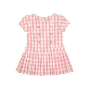 Vestido Infantil Em Xadrez Vichy Com Magas Bufantes E Saia Plissada Rosa Claro
