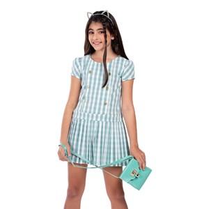 Vestido Infantil Em Xadrez Vichy Com Magas Bufantes E Saia Plissada Verde