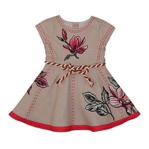 Vestido infantil estampa de flores com cinto de cordao BEGE CLARO