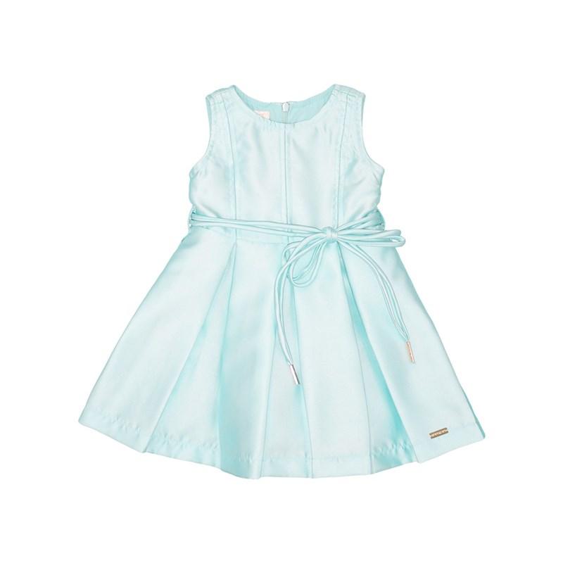 Vestido Infantil Evasê Com Cinto Rolitê Com Ponteiras Az Turquesa