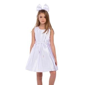 Vestido Infantil Evasê Com Cinto Rolitê Com Ponteiras Branco