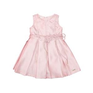 Vestido Infantil Evasê Com Cinto Rolitê Com Ponteiras Rosa Claro