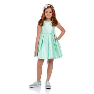 Vestido Infantil Evasê Com Cinto Rolitê Com Ponteiras Verde Agua