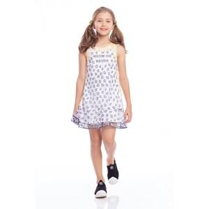 Vestido Infantil Forma A Com Barrado Godê Marinho