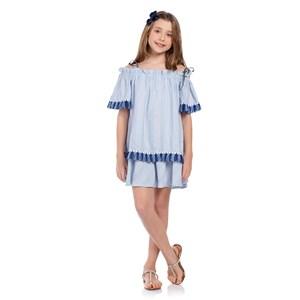 Vestido Infantil Franzido Evasê Azul Claro