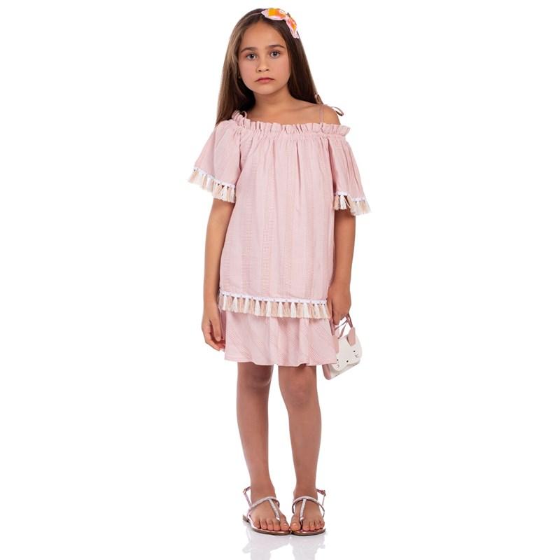 Vestido Infantil Franzido Evasê Rose