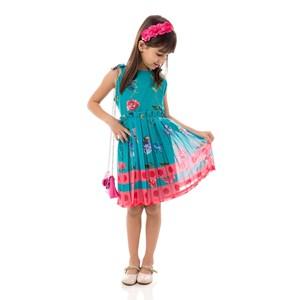 Vestido Infantil / Kids Com Zíper Invisível Em Voial Off White - Um Mais Um Verde