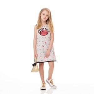 Vestido Infantil / Kids Em Alfaiataria Diagonal Com Lycra Estampado - Um Mais Um Cinza Claro