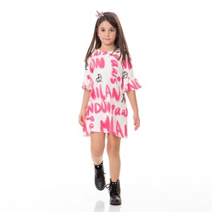 Vestido Infantil / Kids Em Alfaiataria Diagonal Com Lycra Estampado - Um Mais Um Cru