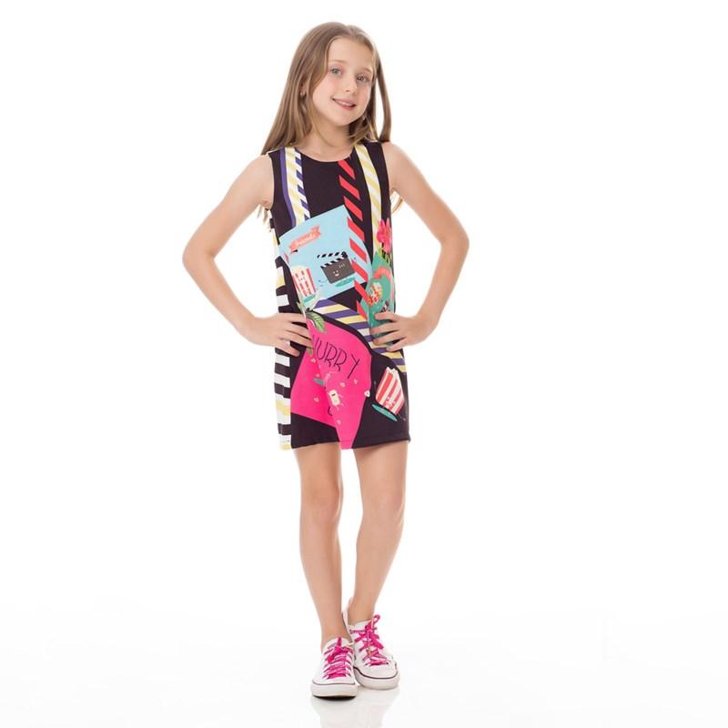 Vestido Infantil / Kids Em Alfaiataria Diagonal Com Lycra Estampado - Um Mais Um Preto