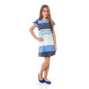 Vestido Infantil / Kids Em Alfaiataria Diagonal Com Lycra - Um Mais Um Azul