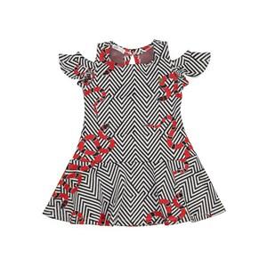 Vestido infantil / kids em bandagem zig zag com helanquinha para forro - 1+1 Vermelho
