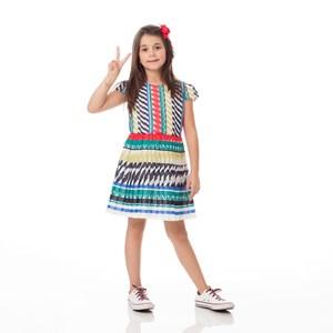Vestido Infantil / Kids Em Chiffon Estampado Com Saia Plissada - Um Mais Um Verde